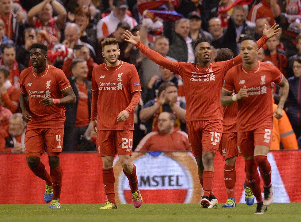 Liverpool celebrate on their way to reaching the Europa League final