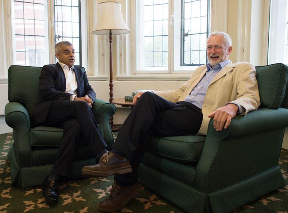 Sadiq Khan with Jeremy Corbyn in Westminster
