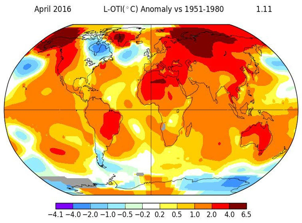 The latest figures continue an unusually warm 2016