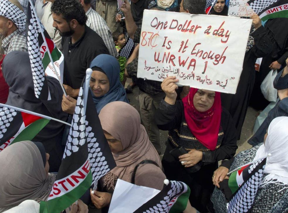 Refugees protest at the UN Relief and Works Agency for Palestinian Refugees in Beirut