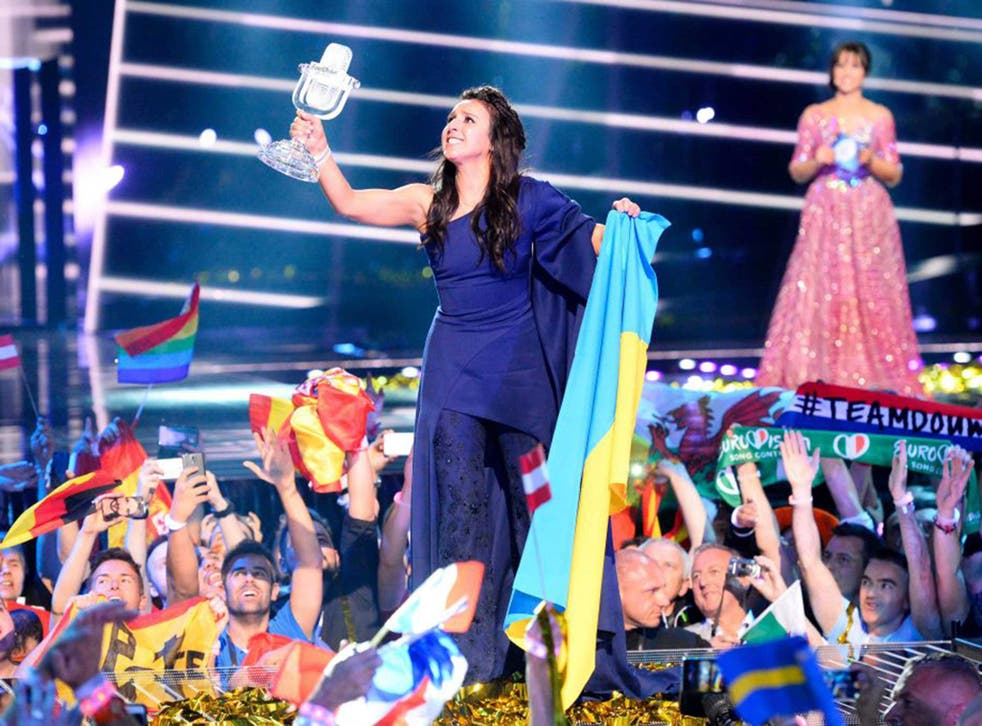 Jamala celebrates winning the Eurovision Song Contest for Ukraine after singing '1944' in English