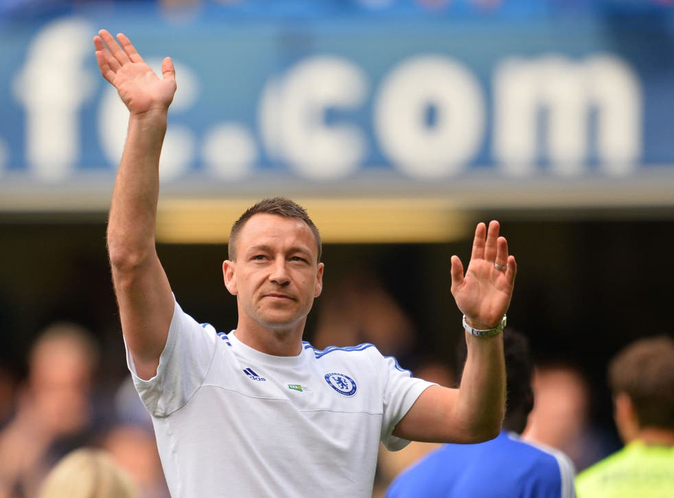 Terry waves to Chelsea fans after the final game of the season against Leicester