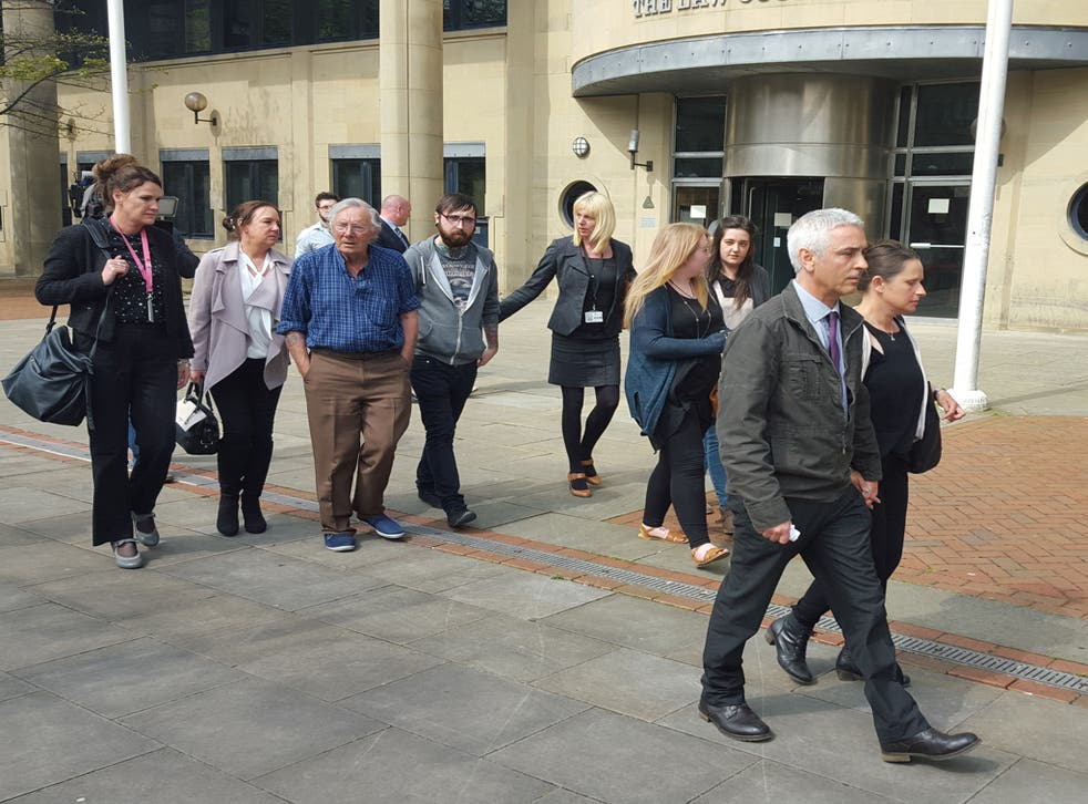 Peter Weaver (front right), the grandfather of 17-month-old Jasmine Weaver and three-year-old Evelyn Lupidi leaves Bradford Crown Court with family members