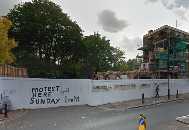 The demolished Carlton Tavern in Maida Vale