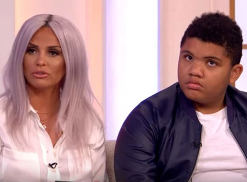 Katie Price brought Harvey on to the programme as part of a discussion about internet trolls