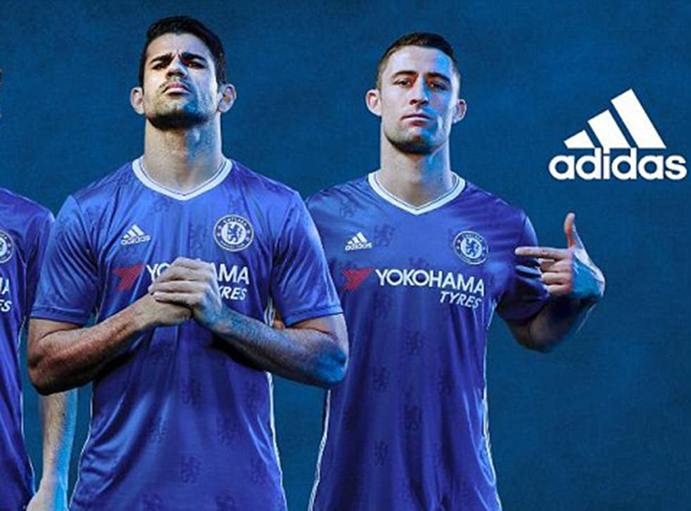 Diego Costa and Gary Cahill pose in Chelsea's 2016/17 Adidas kit