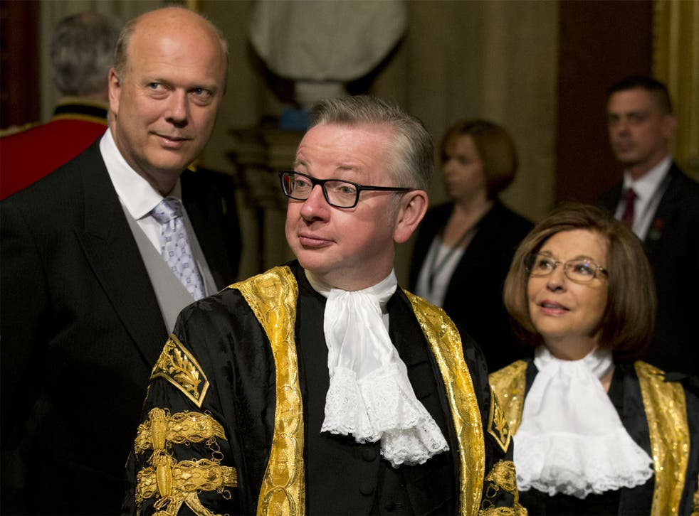 Govey, baby: The Justice Secretary (centre) looking like a 16 century Austin Powers at the House of Lords yesterday