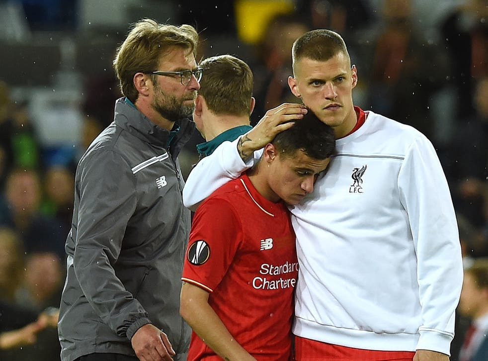 A distraught Philippe Coutinho at the final whistle