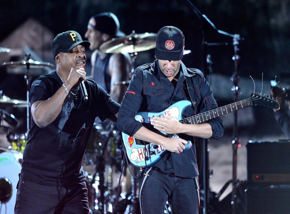 Chuck D and Tom Morello perform together at the 2013 Grammy Awards
