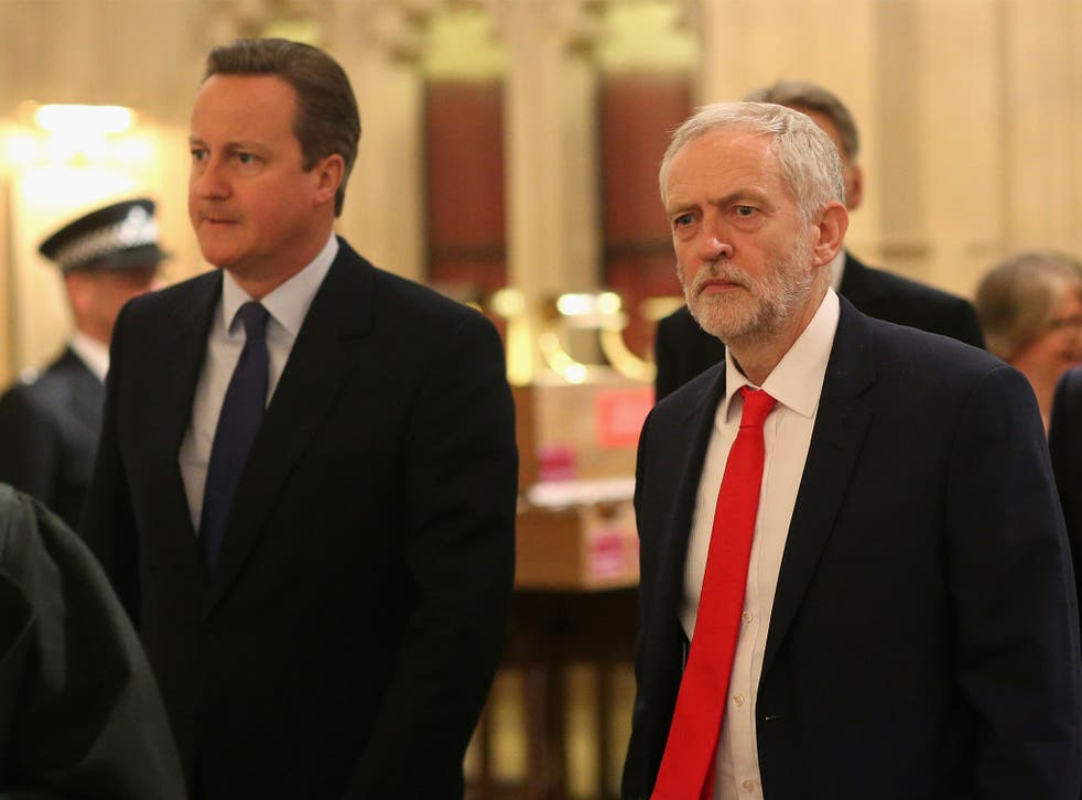 The Prime Minister and Labour Party leader walking to the House of Lords ahead of the Queen's Speech on Wednesday