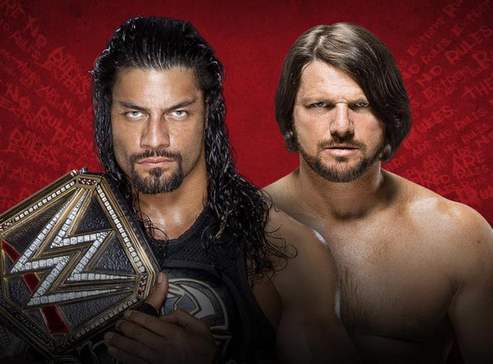 Roman Reigns and AJ Styles face off in an Extreme Rules match for the WWE World Heavyweight Championship