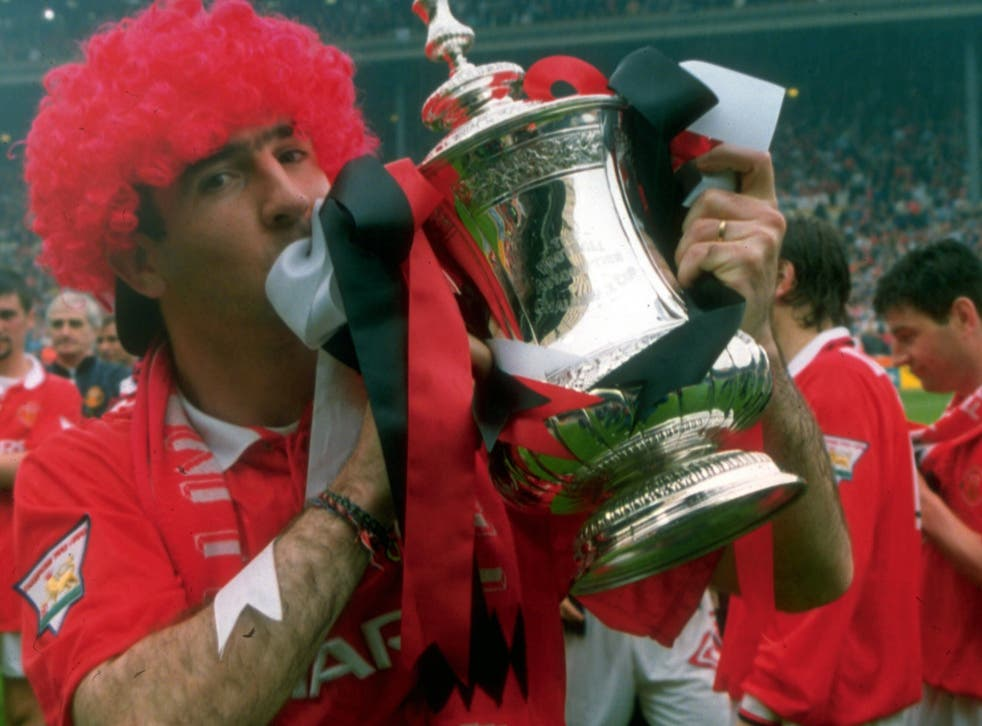 Eric Cantona kisses the FA Cup after Manchester United's 1994 victory over Chelsea
