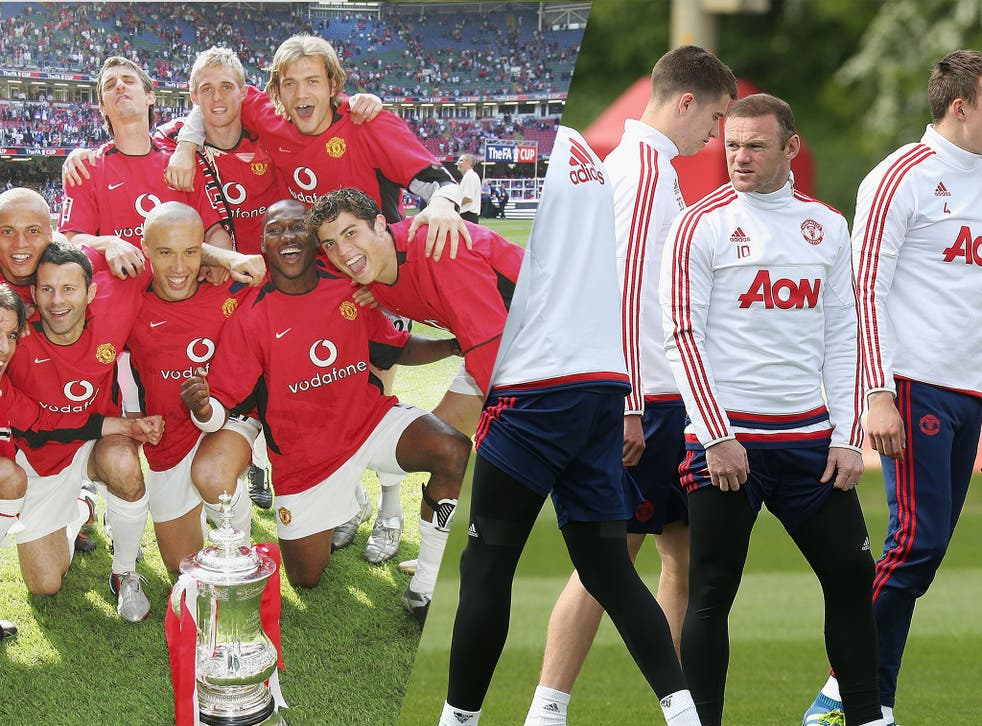 Manchester United's FA Cup winning side of 2004 and current captain Wayne Rooney