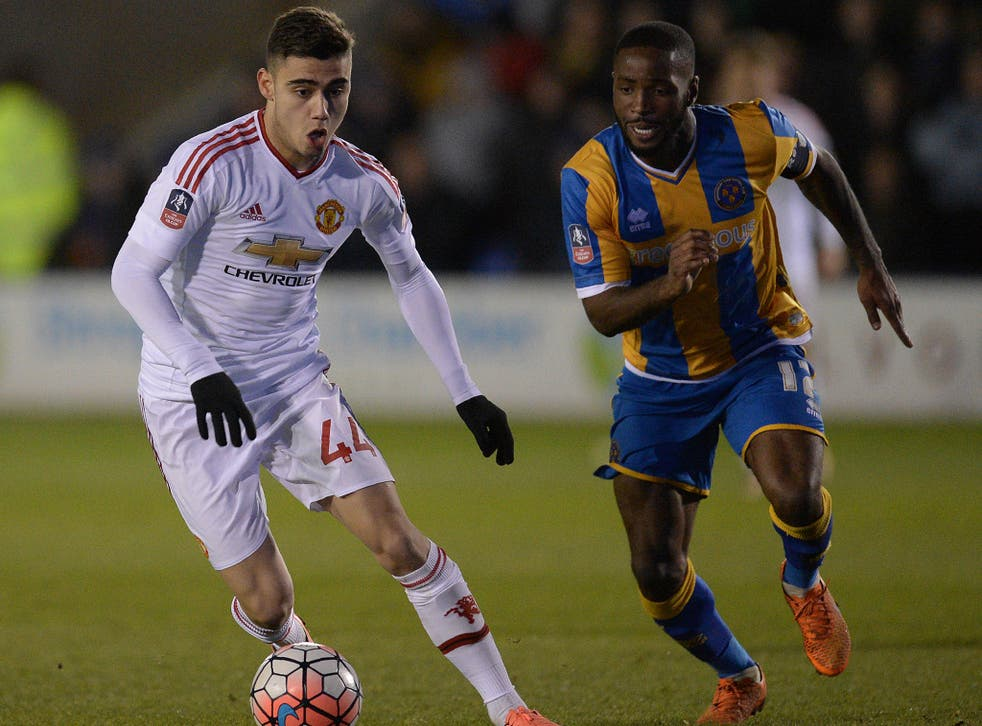 Andreas Pereira in action for Manchester United against Shrewsbury in the FA Cup back in February