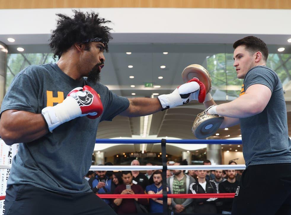 David Haye and his trainer Shane McGuigan this week