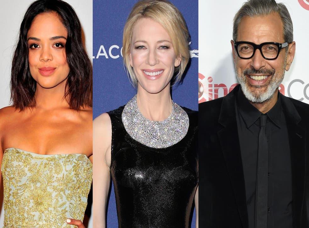 Tessa Thompson, Cate Blanchett and Jeff Goldblum.