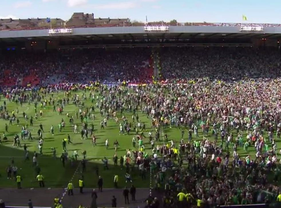 The scene on the pitch after the match