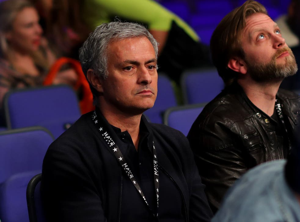 Jose Mourinho pictured at the David Haye fight in London on Saturday night
