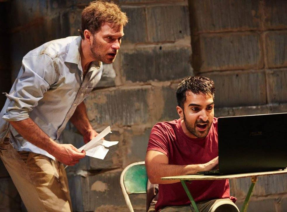 Daniel Lapaine & Parth Thakerar in The Invisible Hand at the Tricycle Theatre in London