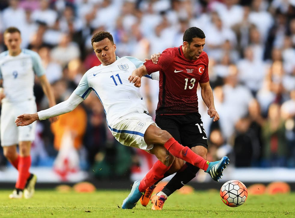 Dele Alli gets stuck in for England against Turkey in the Euro 2016 warm up match