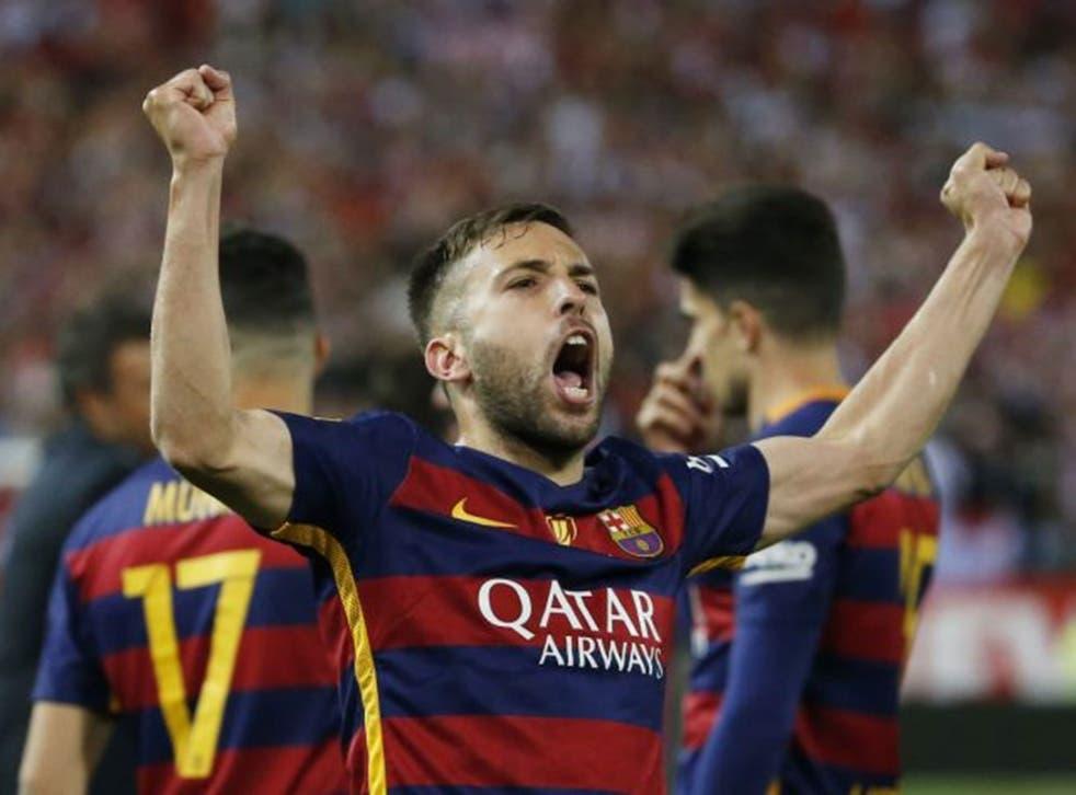 Barcelona's Jordi Alba celebrates after winning the Copa del Rey Final