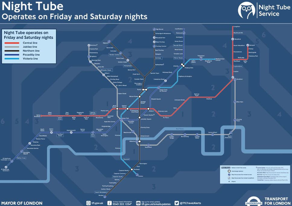 Night Tube map: The stations and lines included in London ...