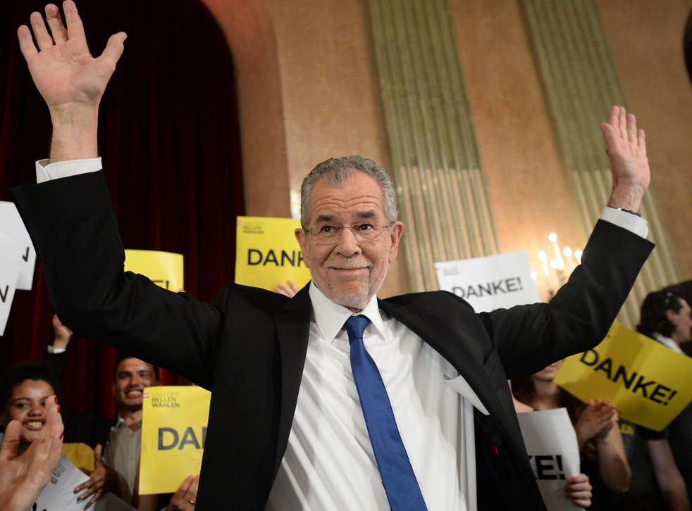Alexander Van der Bellen reacts during an election party after the second round of the Austrian President elections on 22 May, 2016, in Vienna