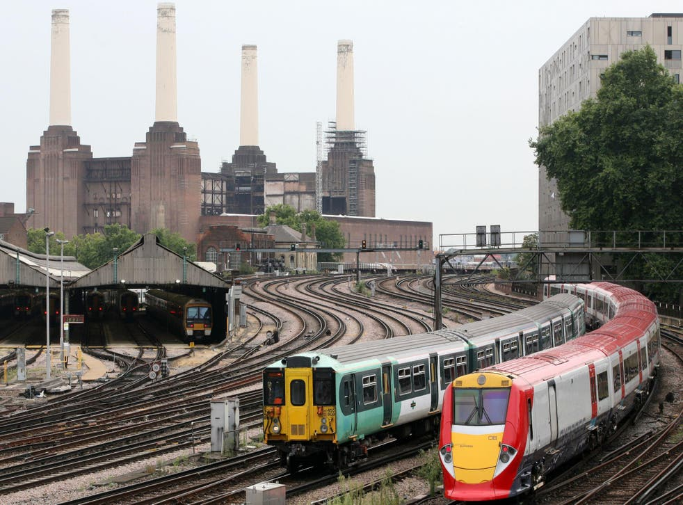 A Southern train and Gatwick Express train