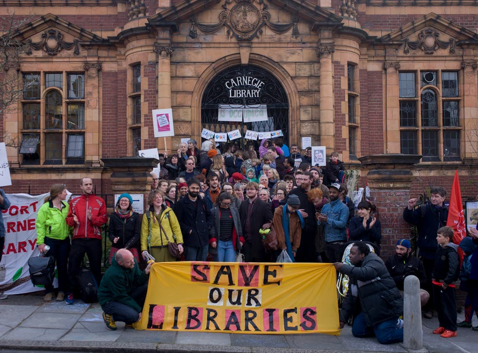 Campaigners protested the closure of London's Carnegie library