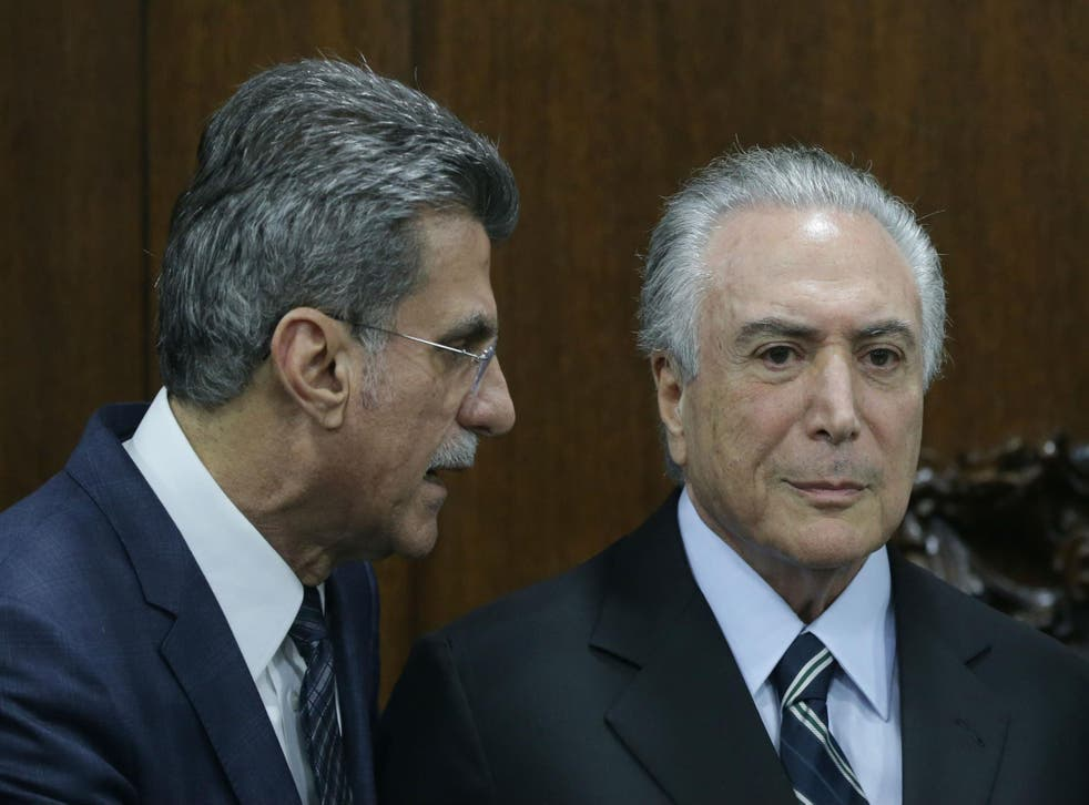 Romero Juca, left, with Michel Temer
