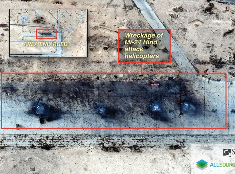 Satellite images taken on 17 May and acquired by Stratfor show the destroyed wreckage of four Russian Mi-24 Hind attack helicopters