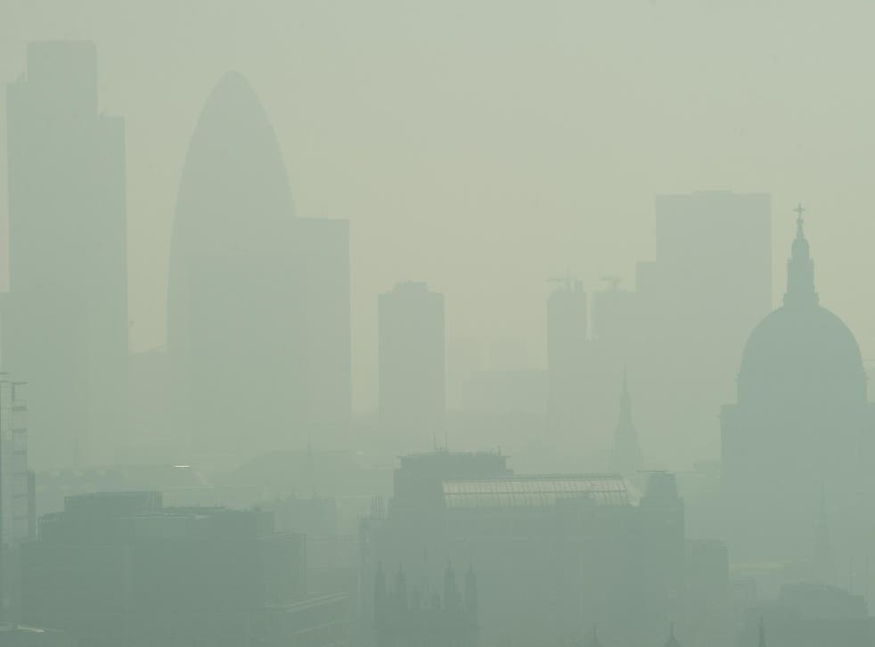 London is barely visible through the smog