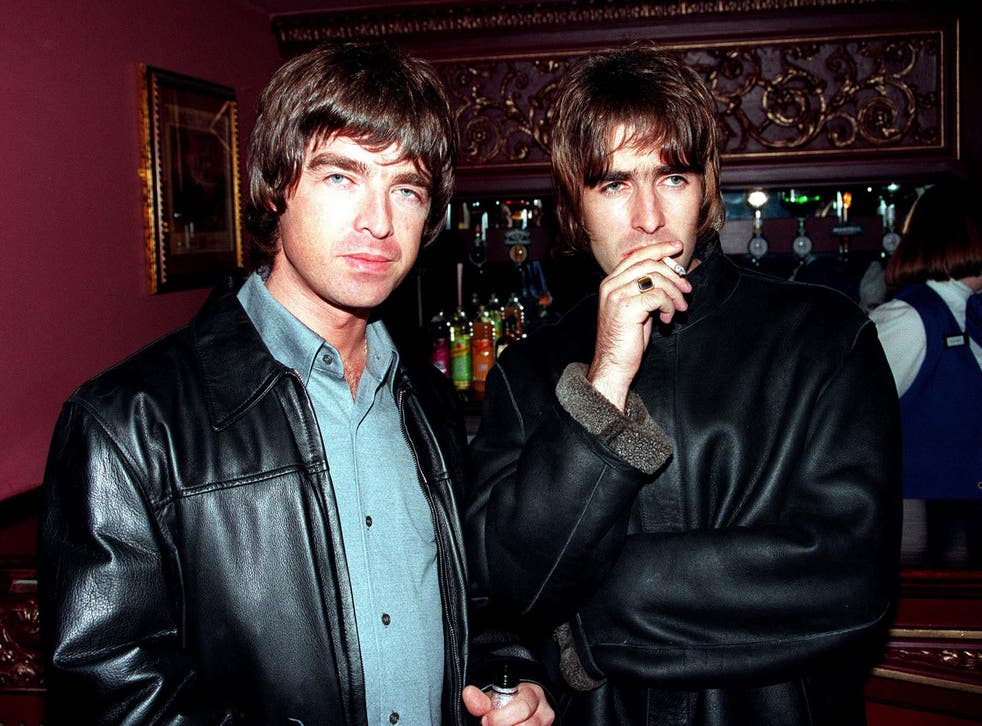 Brothers Noel and Liam Gallagher during peak Oasis in 1995