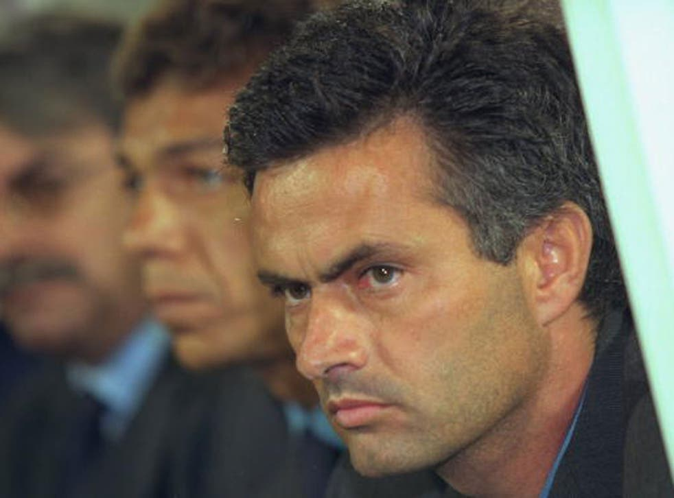 Jose Mourinho's first European match as manager came in the Uefa Cup, for Benfica against Halmstad in September 2000 (Getty)