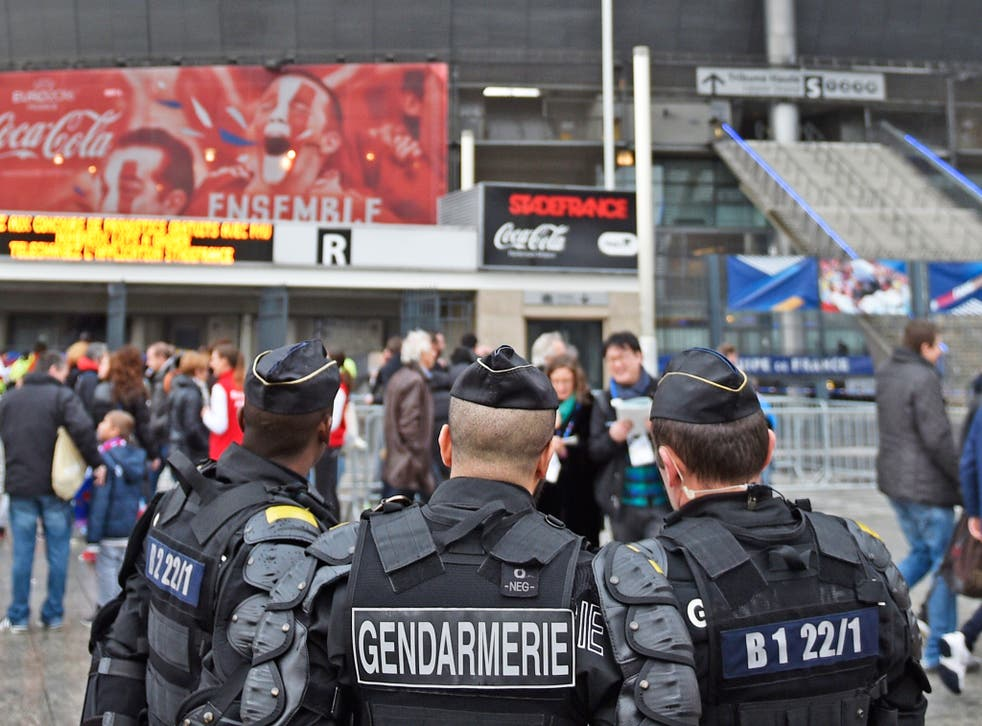 Security personnel outside the Stade de France – where the Euro 2016 will get underway from on 10 June