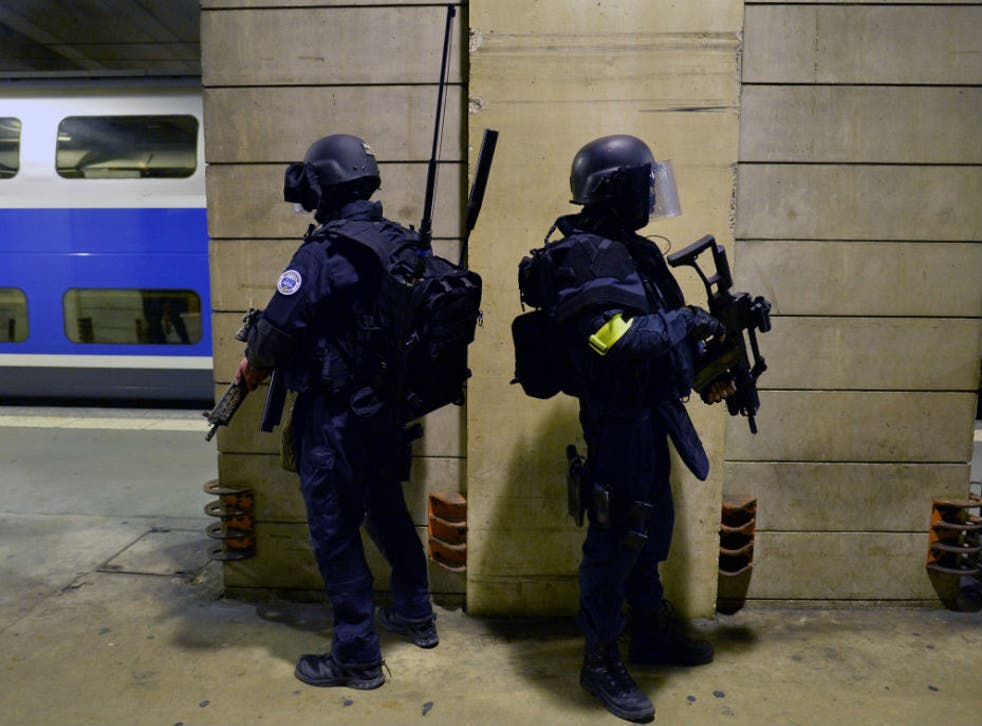 Members of the National Gendarmerie Intervention Group (GIGN) stand in position during a training exercise in the event of a terrorist attack