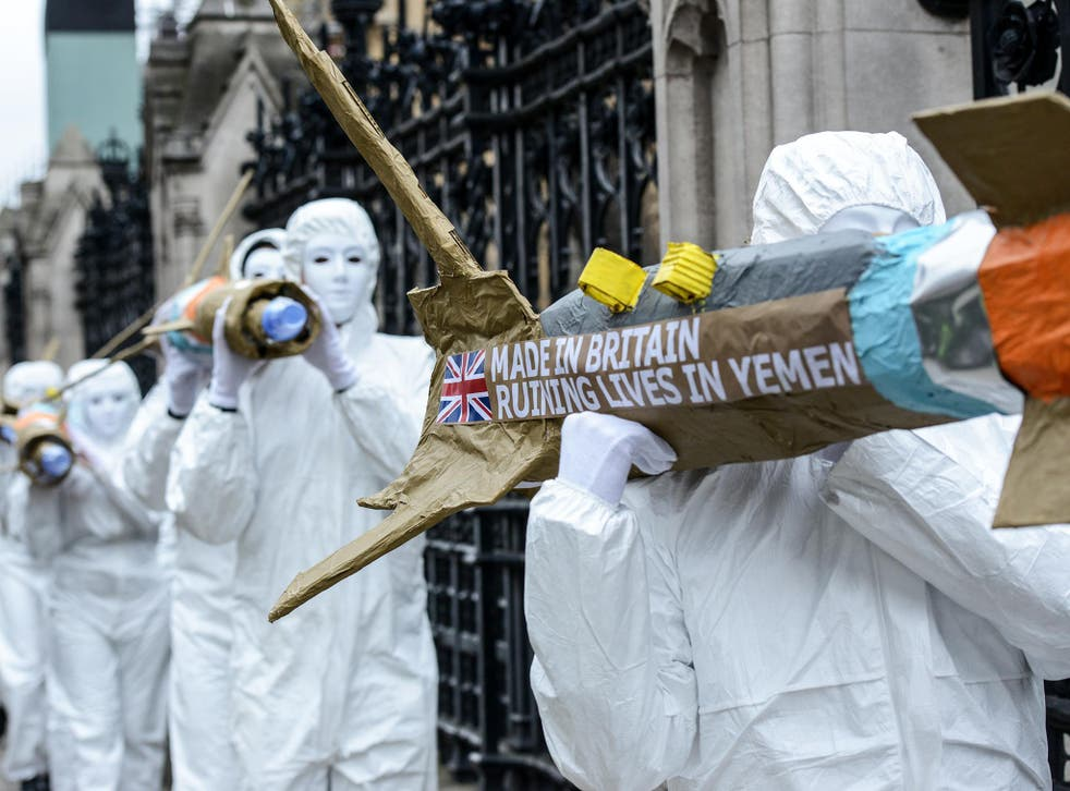 Amnesty International protests against UK arms sales to Saudi Arabia outside parliament earlier this year