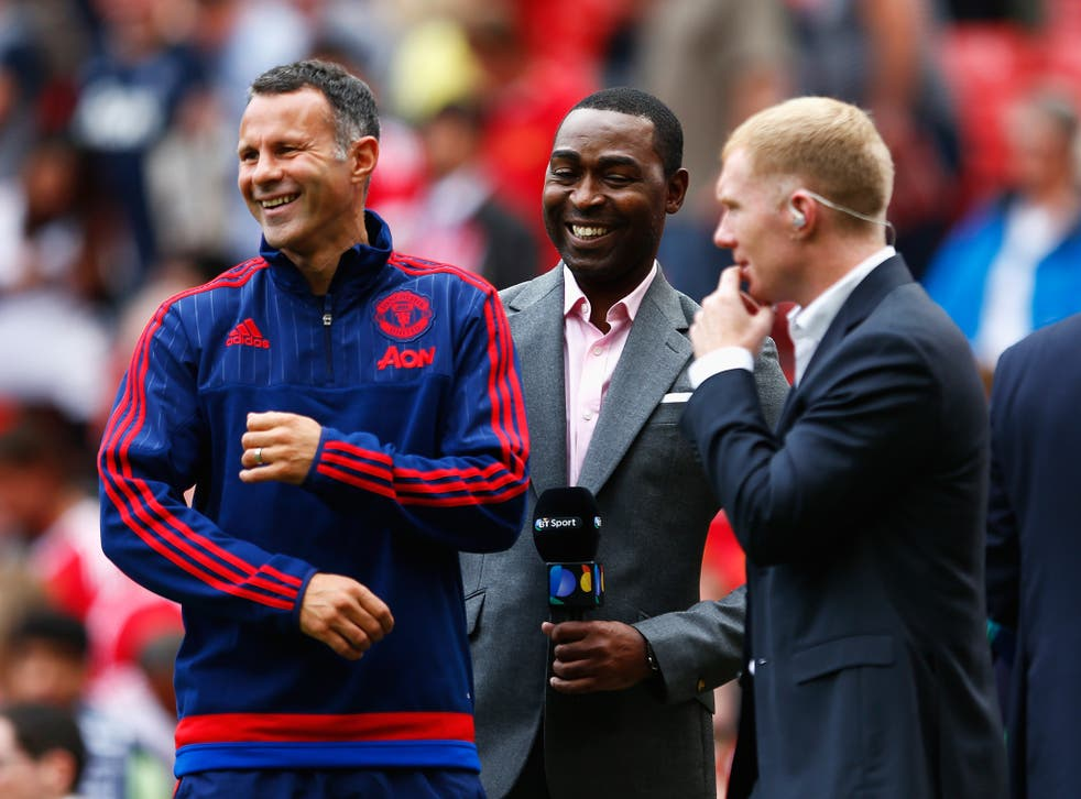 Giggs shares a joke with former team-mates Scholes and Andy Cole