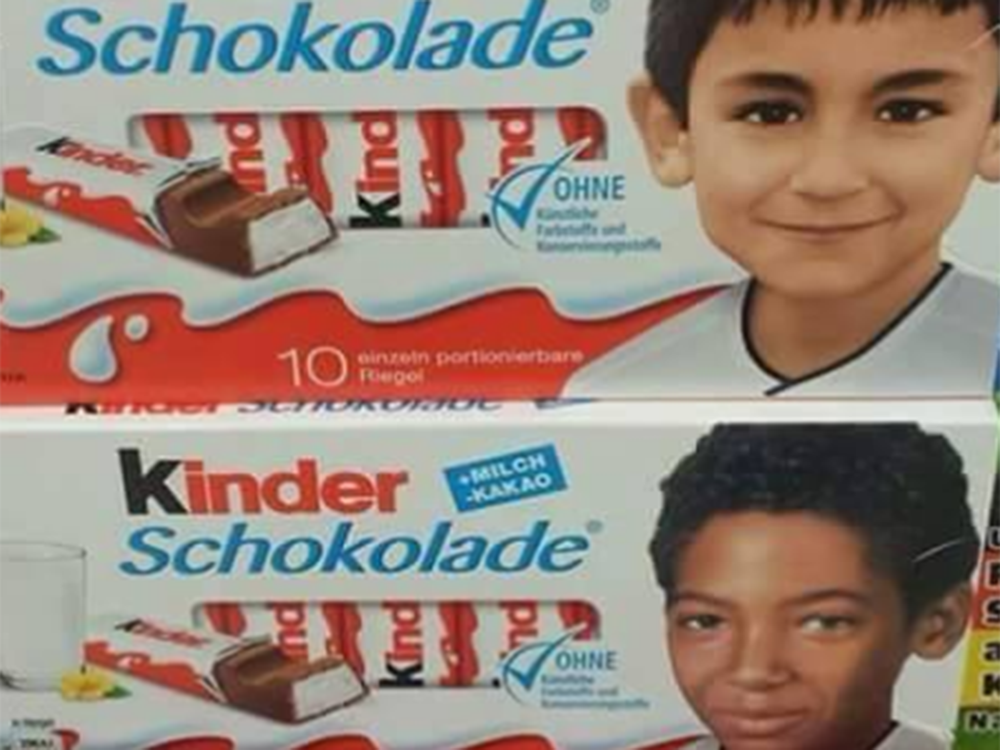 pegida mocked for outrage at black childrens photos on kinder chocolate bars the independent - Kinder Kid Competition