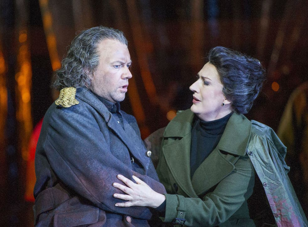 'Oedipe' Opera by George Enescu performed at the Royal Opera House, with Sarah Connolly as Jocaste and Johan Reuter as Oedipe