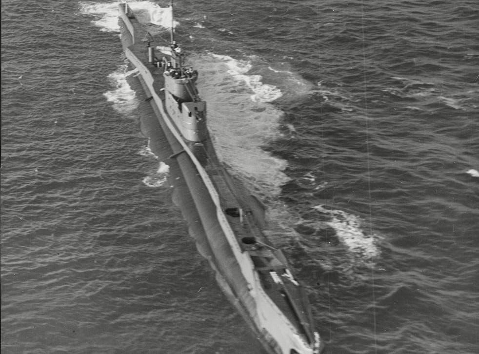 A Royal Navy T Class submarine on patrol
