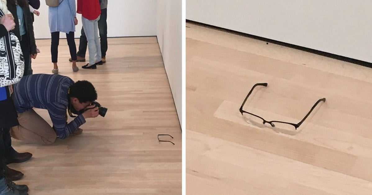 A pair of glasses were left on the floor at a museum and everyone