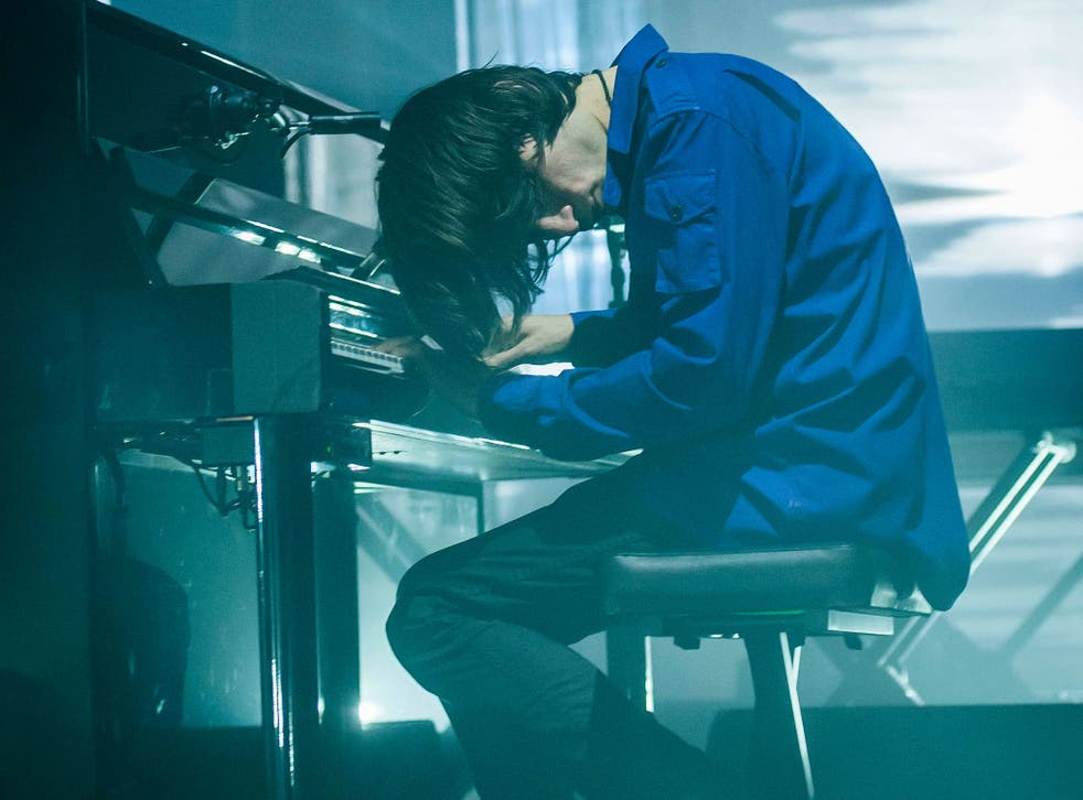 Jonny Greenwood plays piano during Radiohead's Roundhouse show