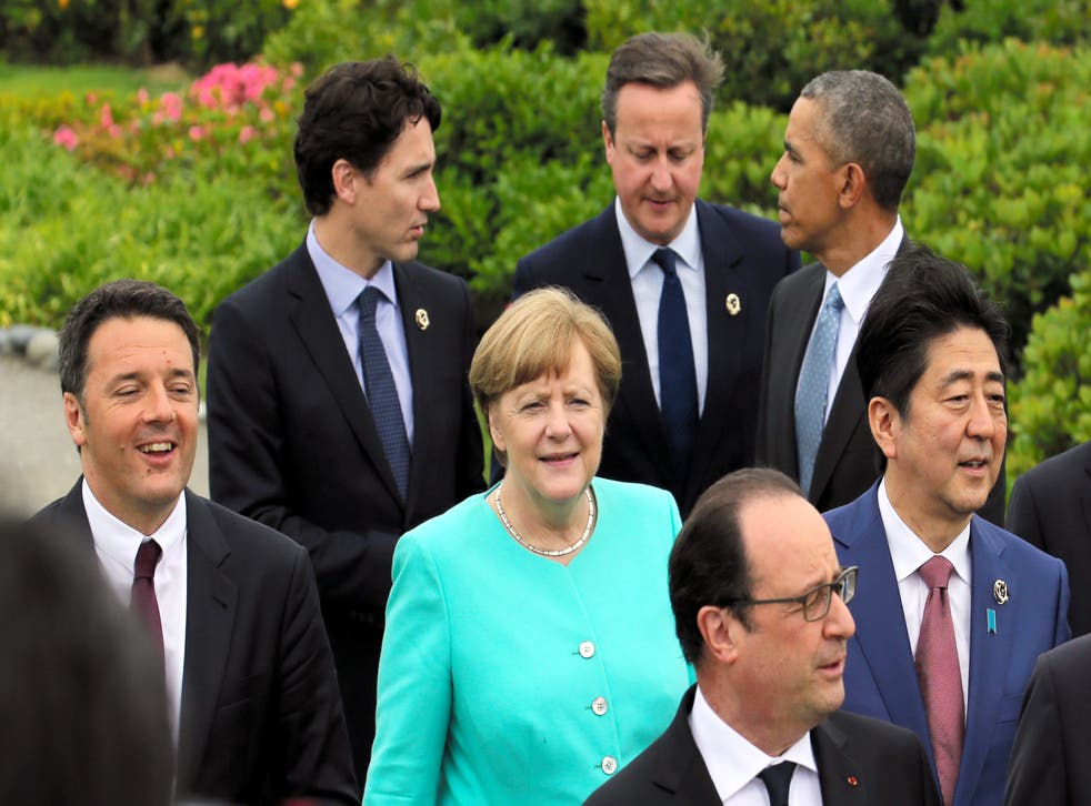 The G7 leaders from Italy, Canada, Germany, Britain, France, the United States, and Japan (Getty Images)