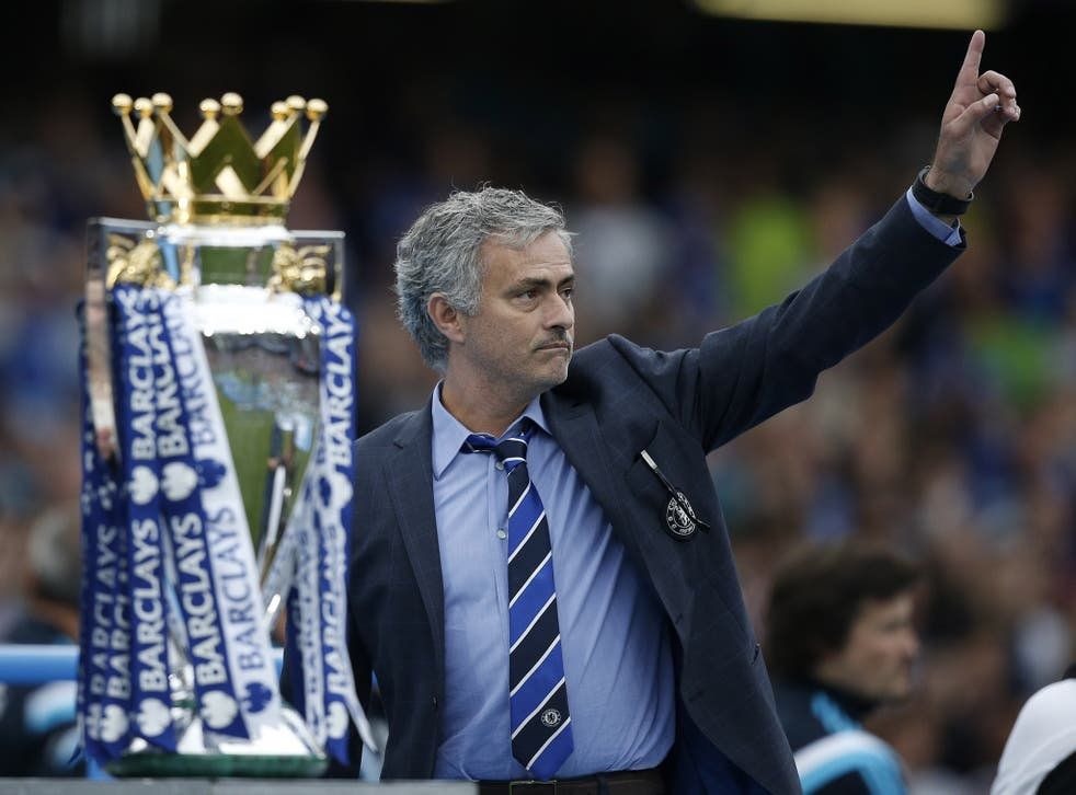 Jose Mourinho celebrates winning the Premier League title with Chelsea, eight months before he was sacked by the club