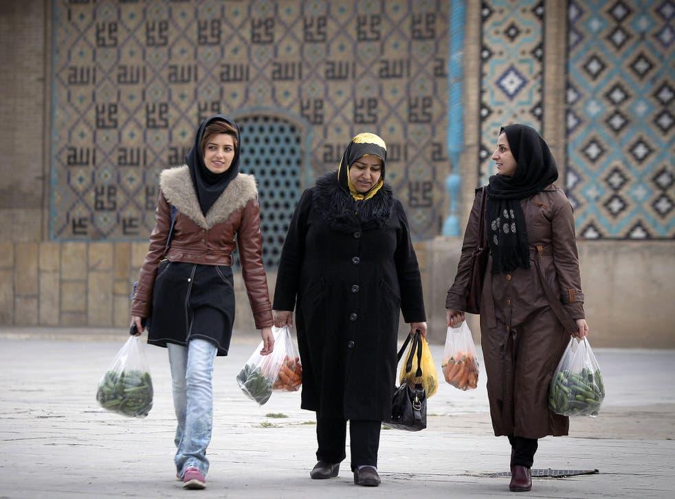 Women walking in Qazvin. Mixing between genders is severely restricted in theocractic Iran.