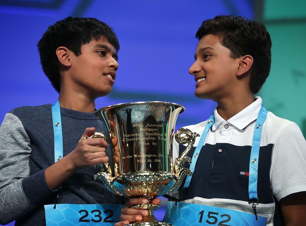Nihar Janga (left) and Jairam Hathwar tied the Scripps National Spelling Bee