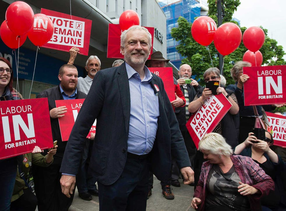 Leader of Britain's opposition Labour Party, Jeremy Corybn, arrives to deliver a speech on the merits of Britain remaining in the European Union, in Doncaster
