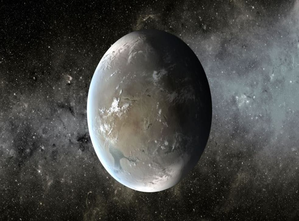 Because of Kepler 62f's distance from its host star, it would need the greenhouse effect of a thick carbon dioxide-rich atmosphere to keep its water from freezing