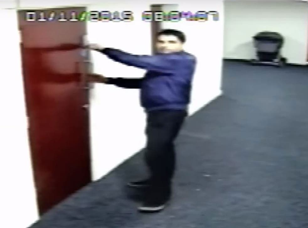CCTV images of Tahir Nazir, 40, attempting to enter several student flats in New Lawrence House in Hulme, Manchester